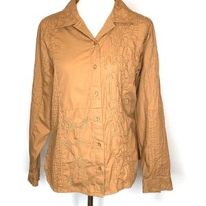 Bechamel Embroidered PinTuck Mustard Shirt Sz L